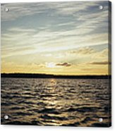 Yellow Sunrise In Manhassett Bay Acrylic Print