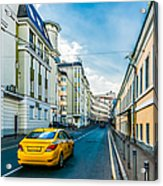 Yellow Taxi Of Moscow Acrylic Print