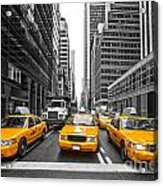 Yellow Taxis In New York City - Usa Acrylic Print