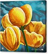 Yellow Tulips On Blue Acrylic Print