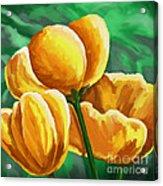 Yellow Tulips On Green Acrylic Print