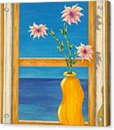 Yellow Vase With Sea View Acrylic Print