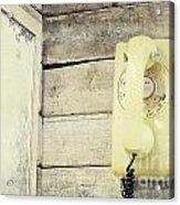 Yellow Vintage Telephone Acrylic Print