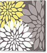 Yellow White Grey Peony Flowers Acrylic Print