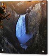 Yellowstone Lower Falls At Sunset Acrylic Print