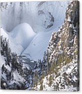 Yellowstone -  Lower Falls In Winter Acrylic Print