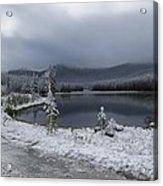 Yellowstone Snow Acrylic Print by Diane Mitchell