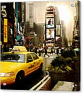Yelow Cab At Time Square New York Acrylic Print by Yvon van der Wijk