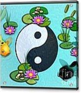 Yin Yang Koi Pond Scenery Acrylic Print