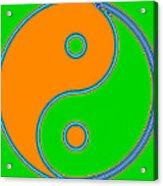 Yin Yang Orange Green Pop Art Acrylic Print