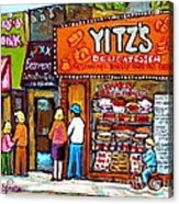 Yitzs Deli Toronto Restaurants Cafe Scenes Paintings Of Toronto Landmark City Scenes Carole Spandau  Acrylic Print