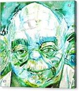 Yoda Watercolor Portrait Acrylic Print