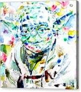 Yoda Watercolor Portrait.1 Acrylic Print