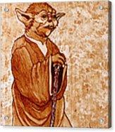 Yoda Wisdom Original Coffee Painting Acrylic Print