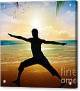 Yoga On Beach Acrylic Print