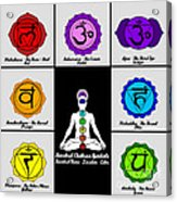 Yoga Reiki Seven Chakra Symbols Chart Acrylic Print