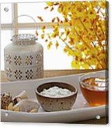 Yogurt And Honey On A Tray In A Spa Acrylic Print