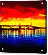 Yorktown Bridge Sunset Acrylic Print by Bill Cannon