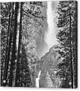 Yosemite Falls Black And White Acrylic Print