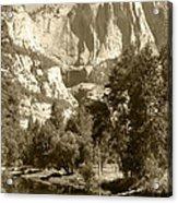 Yosemite Falls Sepia Acrylic Print