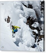 Young Adult Snowboarding Off Powder Acrylic Print