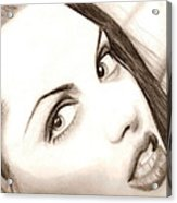 Young Angelina Jolie Acrylic Print by Michael Mestas