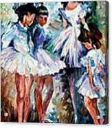 Young Ballerinas - Palette Knife Oil Painting On Canvas By Leonid Afremov Acrylic Print