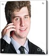 Young Business Man On The Cell Phone Acrylic Print