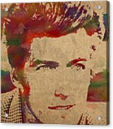 Young Clint Eastwood Actor Watercolor Portrait On Worn Parchment Acrylic Print