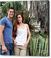 Young Couple Palm Tree Acrylic Print