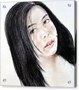 Young Filipina Beauty With A Mole On Her Cheek Model Kaye Anne Toribio Acrylic Print
