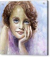 Young Girl Child Watercolor Portrait  Acrylic Print by Svetlana Novikova