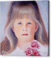 Young Girl With Roses Acrylic Print