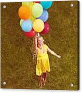 Young Happy Woman Flying On Colorful Helium Balloons Acrylic Print
