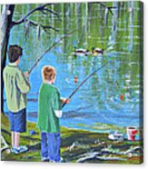 Young Lads Fishing Acrylic Print