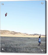 Young Lady Flies A Kite In An Open Acrylic Print