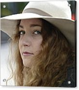 Young Lady With White Hat 1 Acrylic Print