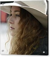 Young Lady With White Hat 2 Acrylic Print