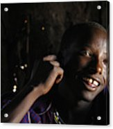 Young Maasai Warrior In The Village Acrylic Print