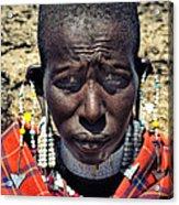 Portrait Of Young Maasai Woman At Ngorongoro Conservation Tanzania Acrylic Print