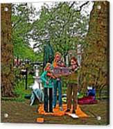 Young Musicians On Orange Day By A Canal In Enkhuizen-netherland Acrylic Print
