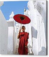 Young Novice Monk Walking On White Pagoda - Myanmar Acrylic Print