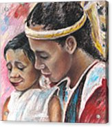 Young Polynesian Mama With Child Acrylic Print