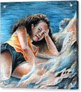 Young Tahitian Mermaid Acrylic Print