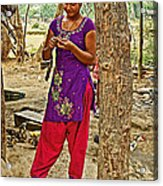Young Tharu Village Woman In Traditional Nepali Clothing-nepal  Acrylic Print