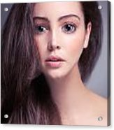 Young Woman Anime Style Beauty Portrait With Beautiful Large Gra Acrylic Print