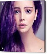 Young Woman Anime Style Beauty Portrait With Large Eyes And Purp Acrylic Print