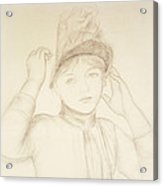 Young Woman Arranging Her Hat Acrylic Print