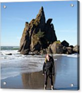 Young Woman Backpacking Near Third Acrylic Print
