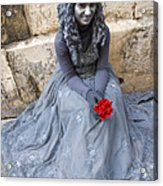 Young Woman Busker In Syracusa Sicily Acrylic Print